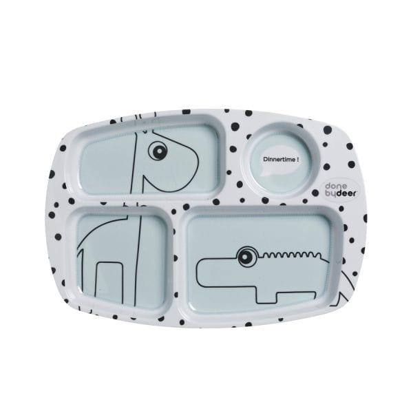 Kids compartment plate in light blue with monochrome dots