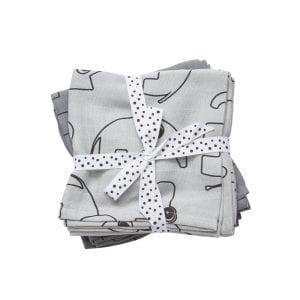 Done by Deer Contour Burp Cloth Two Pack Grey