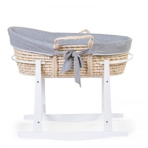 Childhome Moses Basket Jersey Grey Insert Rocking Stand