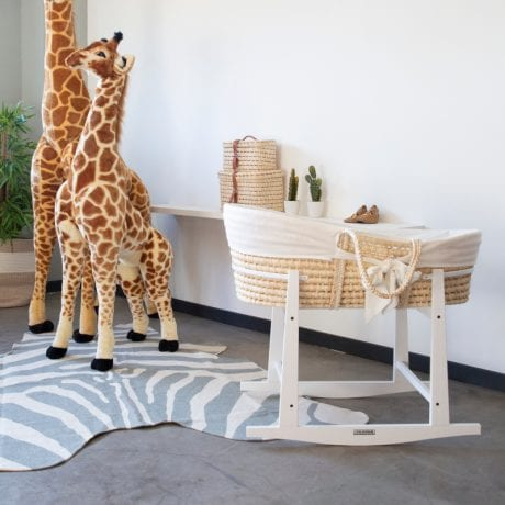 Corn Husk Moses Basket in Rocking Stand with White Jersey Insert