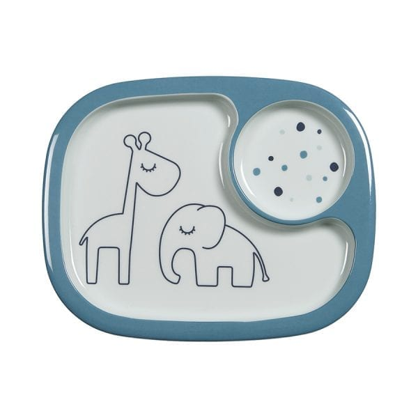 Done by Deer Dreamy Dots Mini Compartment Plate Blue