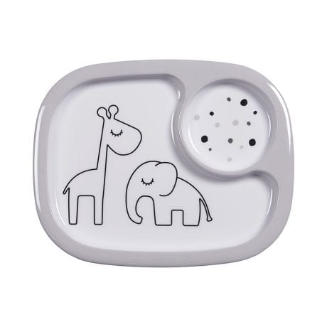 Done by Deer Dreamy Dots Mini Compartment Plate Grey 1701505