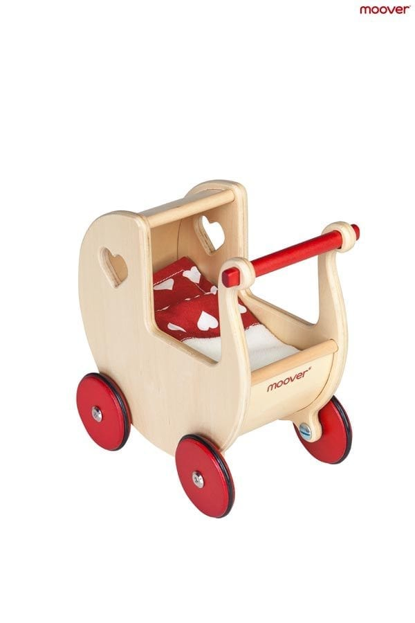Moover Toys Natural Dolls Pram with Red Bedding