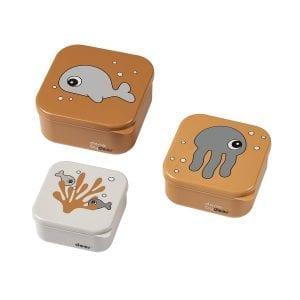 Done by Deer Sea Friends Snack Box Set Mustard 1206214