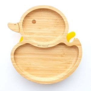 Duck Shaped Bamboo Plate Yellow