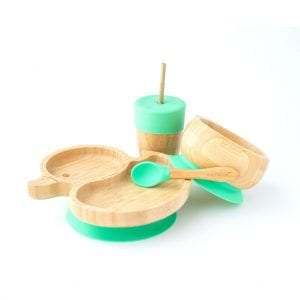 Bamboo Plate Duck Dinnerware Set Green