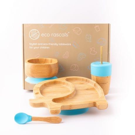 Eco Rascals Bamboo Plate Set - Blue Elephant