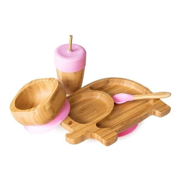 Bamboo Elephant Children's Dinnerware Gift Set Pink