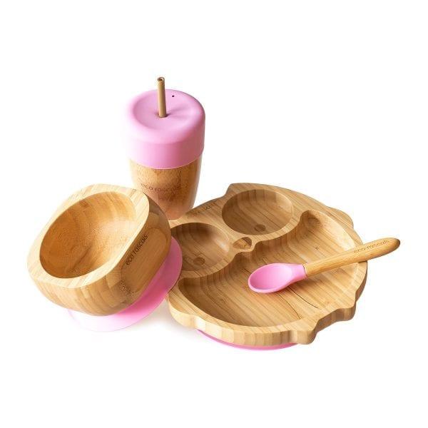Bamboo Owl Children's Dinnerware Gift Set Pink